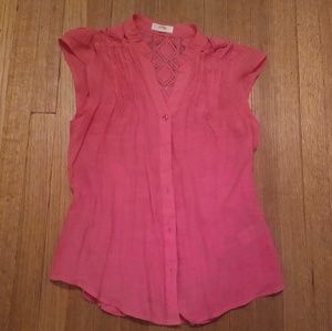 Tops - Coral Pink Button Up Blouse